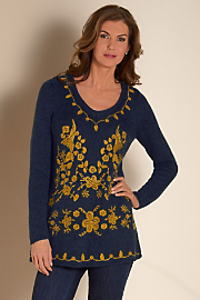 Women's Otomi Sweater - NAVY HEATHER