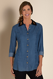 Women's Tencel Tesoro Shirt - DENIM BLUE