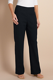 Women's Straight Leg Gauze Pants - BLACK