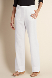 Women's Straight Leg Gauze Pants - WHITE