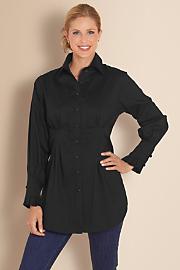 Women's Shapely Tuxedo Shirt - BLACK