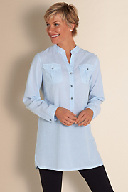 Women's Subtle Stripe Tunic - CHAMBRAY BLUE