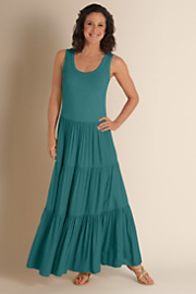 Women's Slimming Maxi Dress - LAKESIDE TEAL