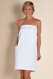 Women's Toweling Off Wrap - WHITE