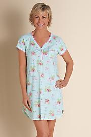 Flamingo Florals Sleepshirt - AQUA
