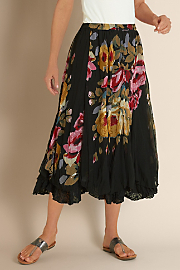 Women's La Vie en Rose Skirt - BLACK