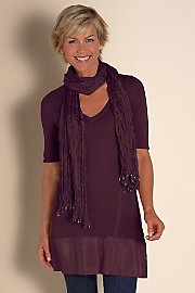 Women Silk Soiree Sweater & Scarf - VERMILLION PURPLE