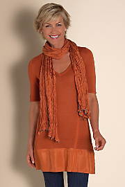 Women Silk Soiree Sweater & Scarf - TERRACOTTA