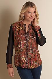 Women's Kilim Shirt - MOROCCAN RED