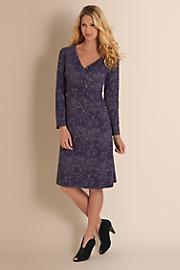 Women's Venetian Surplice Dress - PLUM