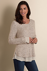 Sequin Sweater - CHAMPAGNE SHIMMER