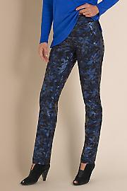 Metallic Floral Pants - BLUE ORCHID