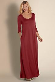 Women Santiago 3/4 Sleeve Dress - RUBY WINE