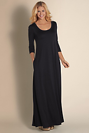 Women Santiago 3/4 Sleeve Dress - CAVIAR