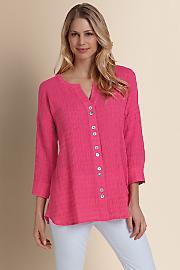 Women Crinkled Gauze Shirt - FLAMINGO PINK