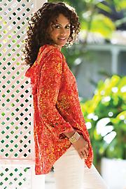 Women Becoming Batik Hoodie - TANGERINE