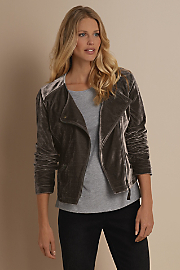 Women Velvet Moto Jacket - FROSTED GREY
