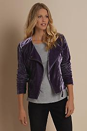 Women Velvet Moto Jacket - PLUM