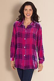 Women Plaid Velvet Big Shirt - FUCHSIA