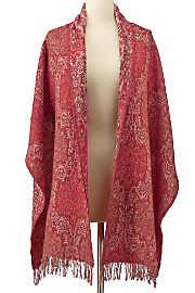 Damask Tapestry Shawl - RED