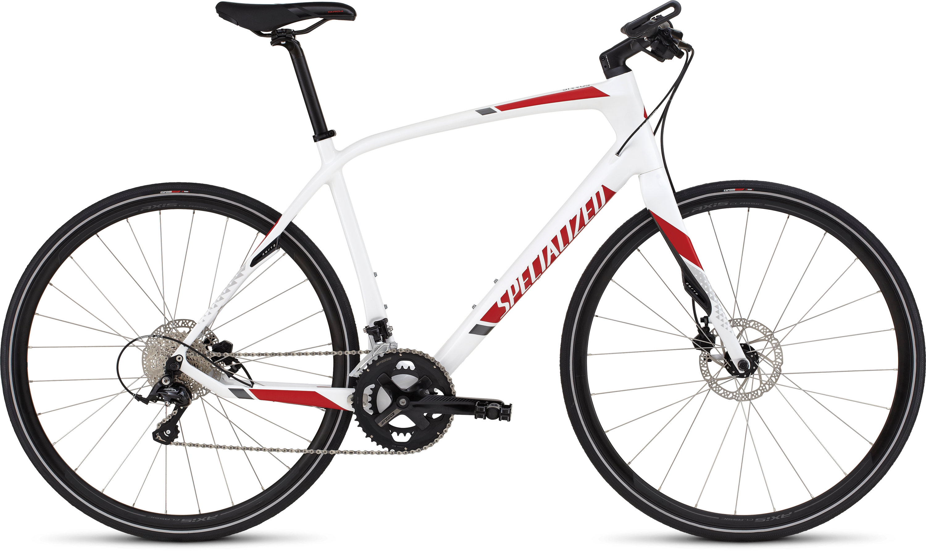 SPECIALIZED SIRRUS ELITE CARBON DISC WHT/RED/CHAR S - Bikedreams & Dustbikes