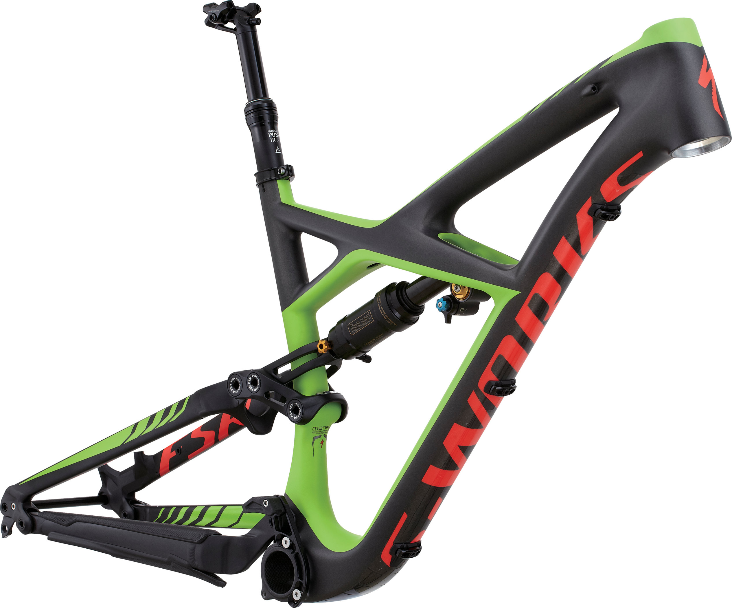 SPECIALIZED SW ENDURO FSR CARBON 650B FRM CHARTNTCARB/MONGRN/RKTRED S - Bikedreams & Dustbikes