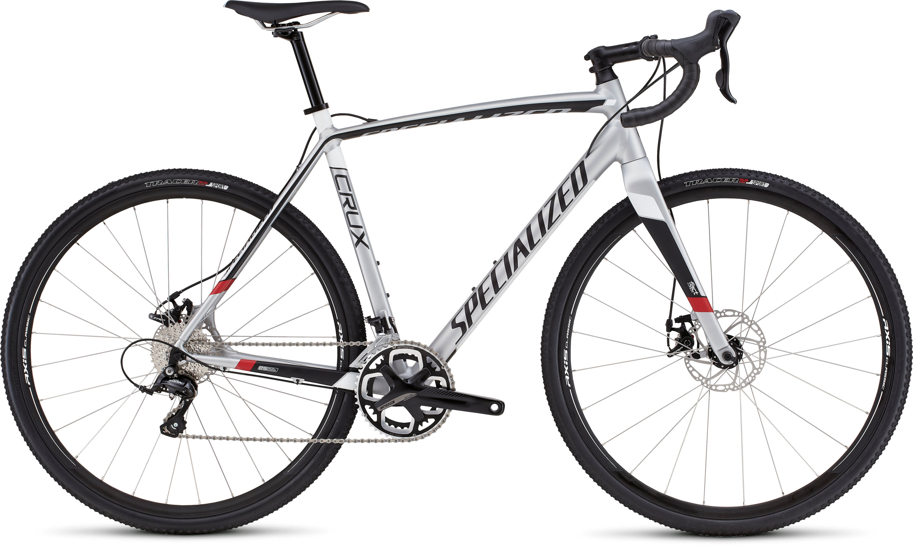 SPECIALIZED CRUX E5 FLKSIL/BLK/WHT/RED 46 - Bikedreams & Dustbikes