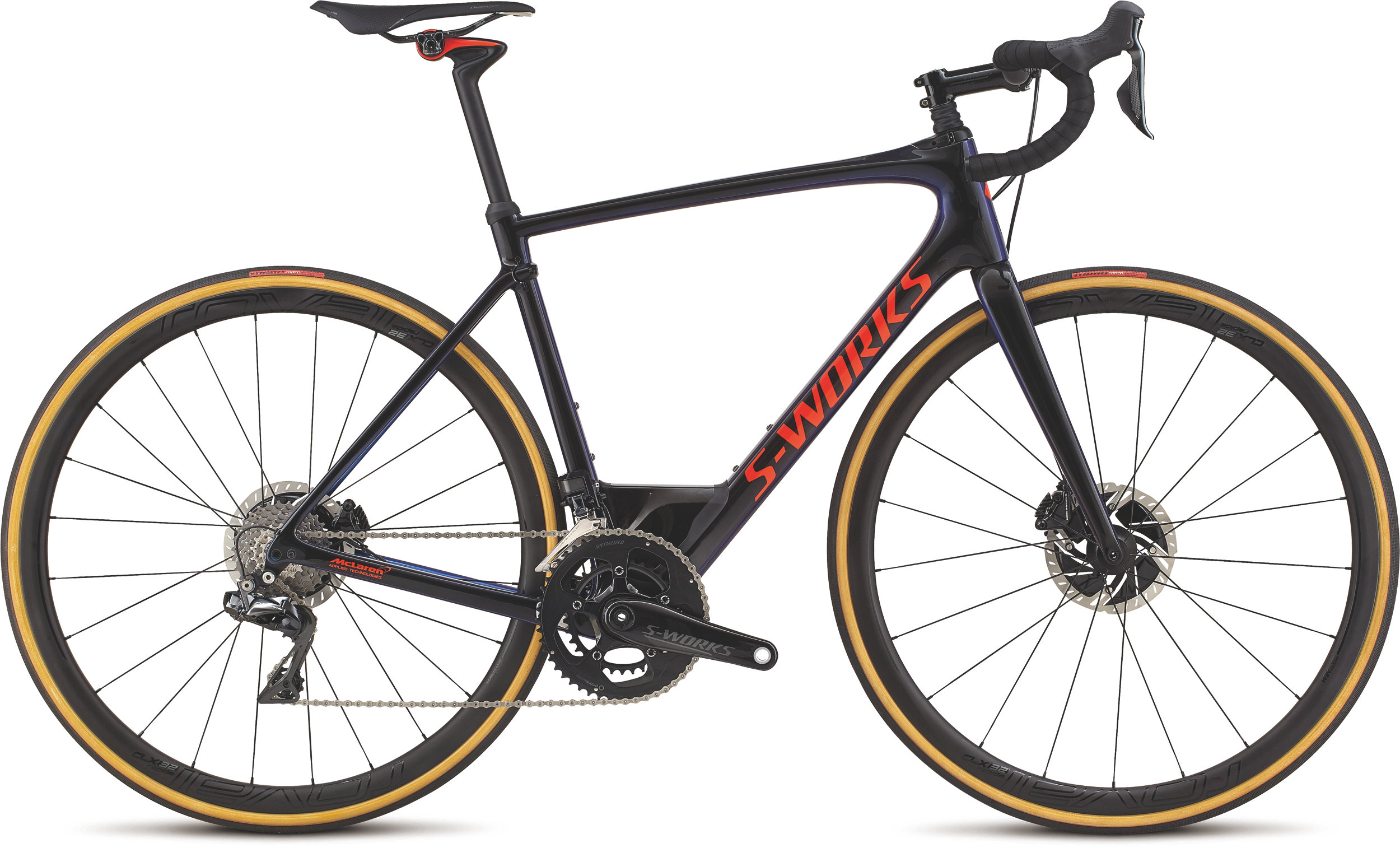 Specialized S-Works Roubaix Dura-Ace Di2 GLOSS TARMAC BLK/CHAMELEON EDGE FADE/RKT RED/CLEAN 56 - Alpha Bikes