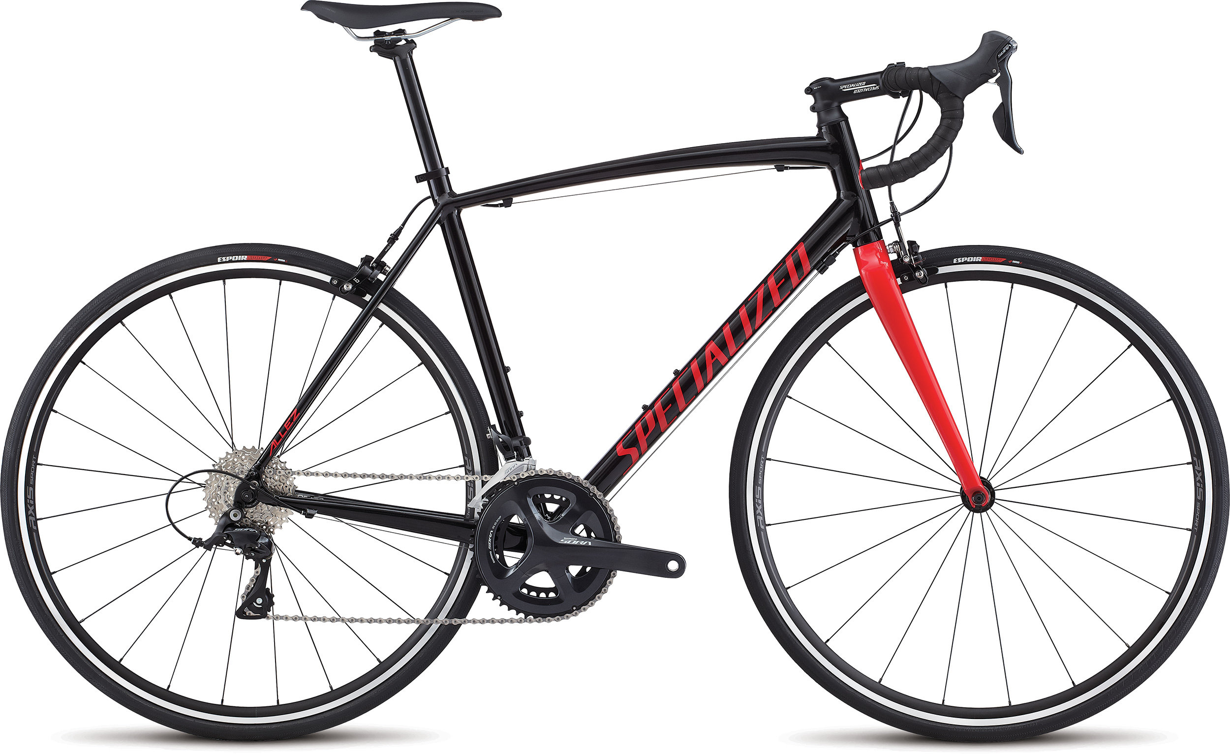 SPECIALIZED ALLEZ E5 SPORT TARBLK/FLORED/WHT 49 - Bike Maniac