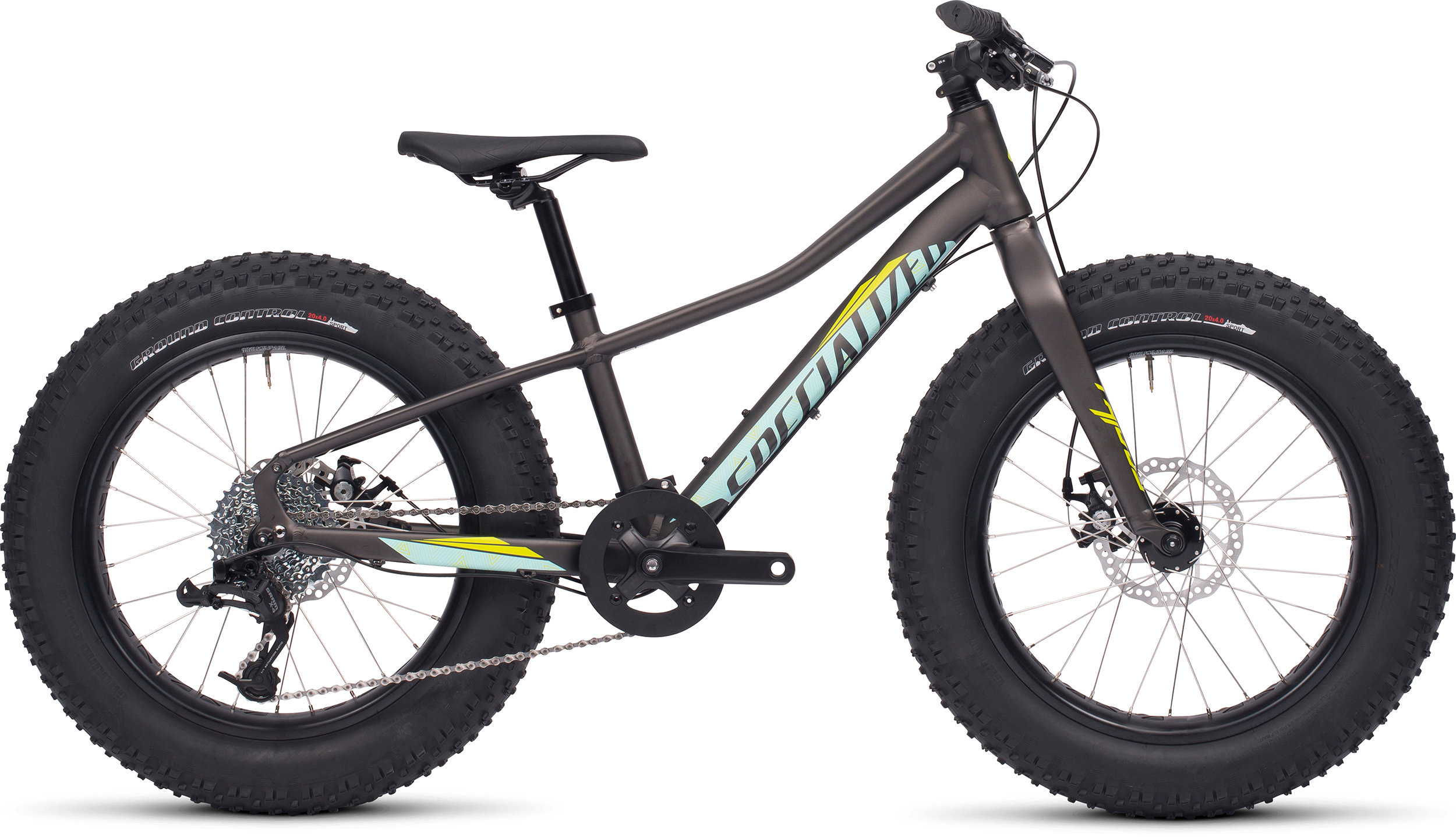 SPECIALIZED FATBOY 20 CHAR/TEAL/HYP GRN 11 - Bike Zone