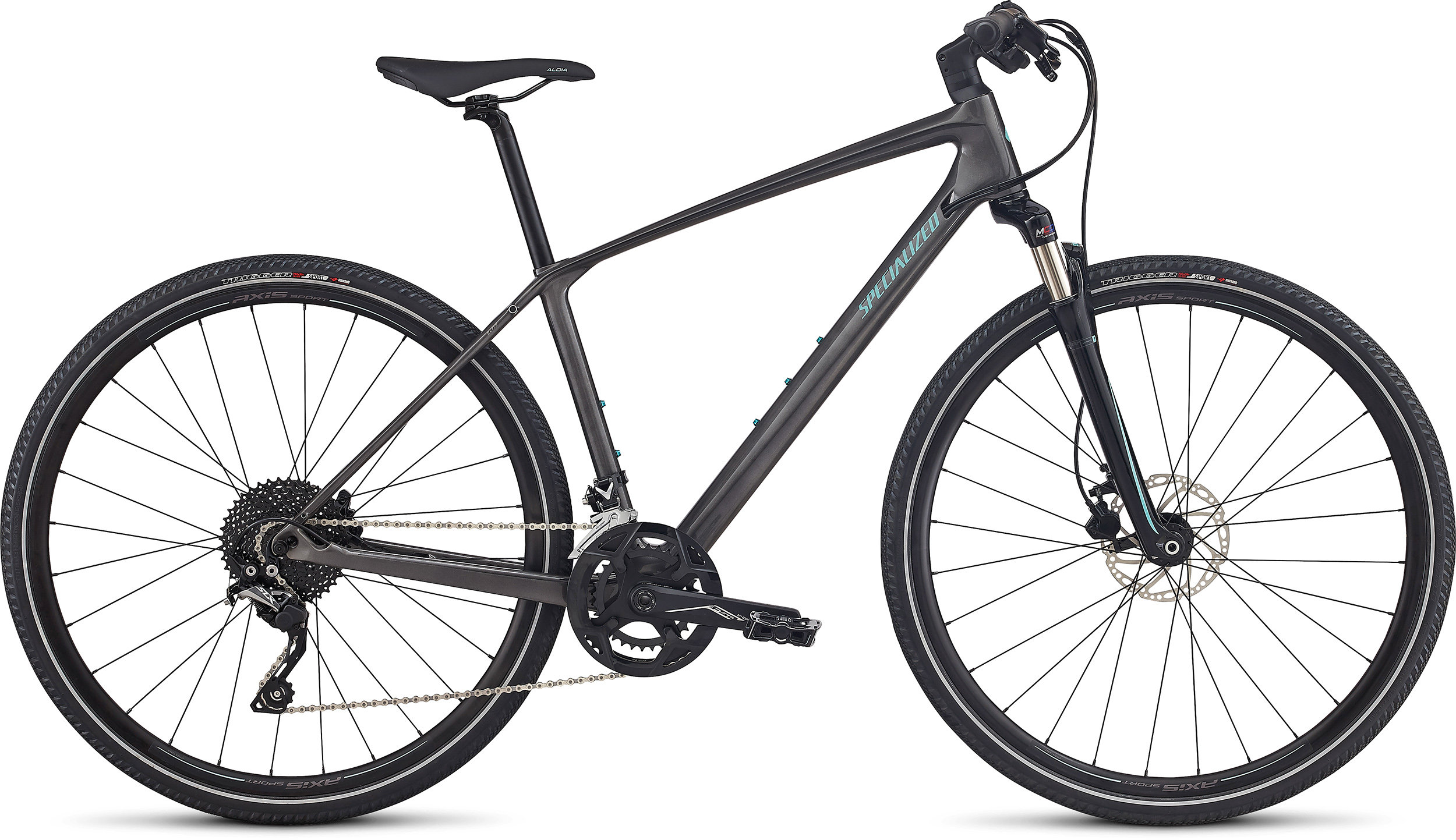 Specialized Ariel Elite Carbon LIGHT SILVER TINT CARBON/TARMAC BLACK/LIGHT TURQUOISE REFLECTIVE L - Alpha Bikes
