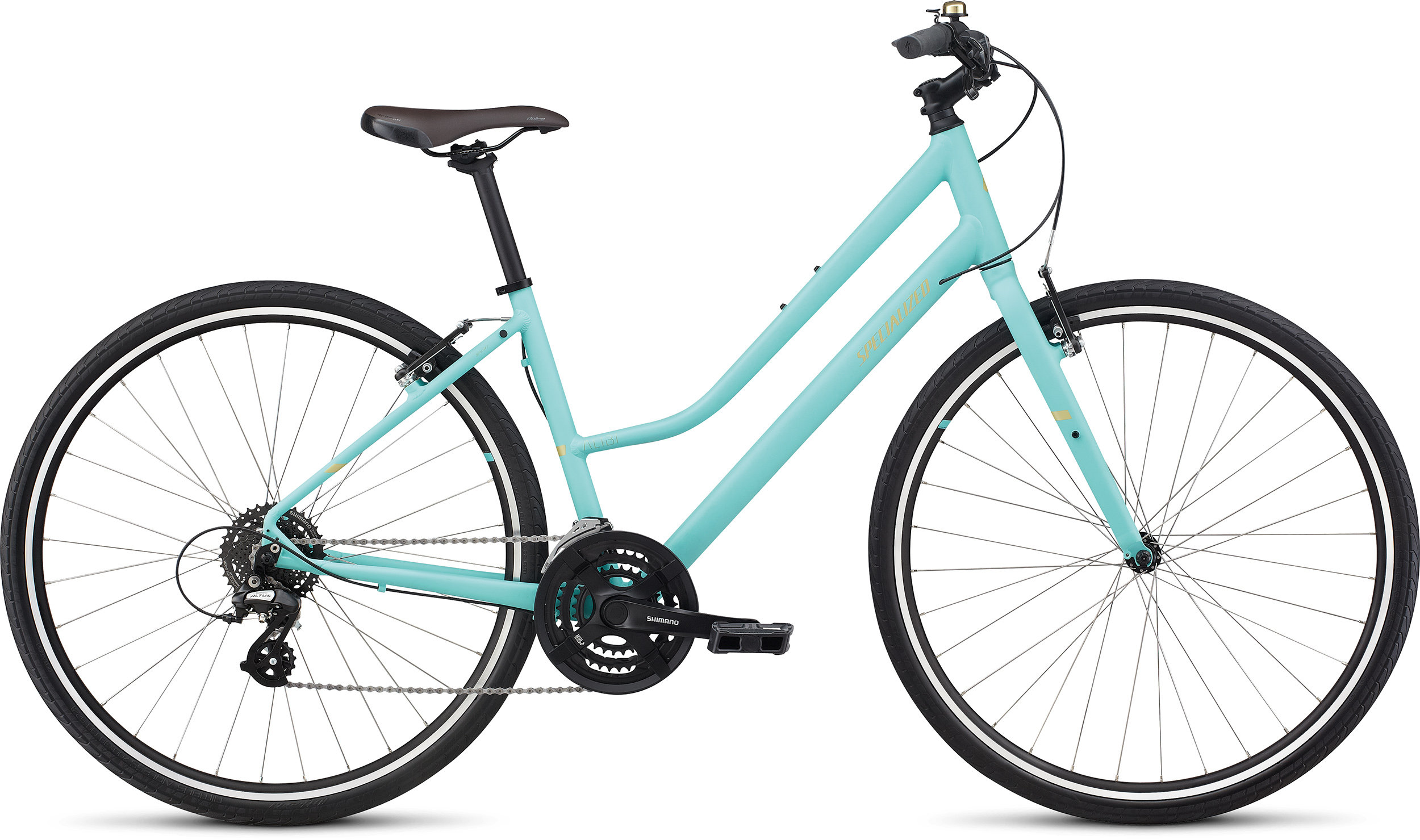 Specialized Alibi Sport Step Through Satin Lt Turquoise/Gold LG - Alpha Bikes
