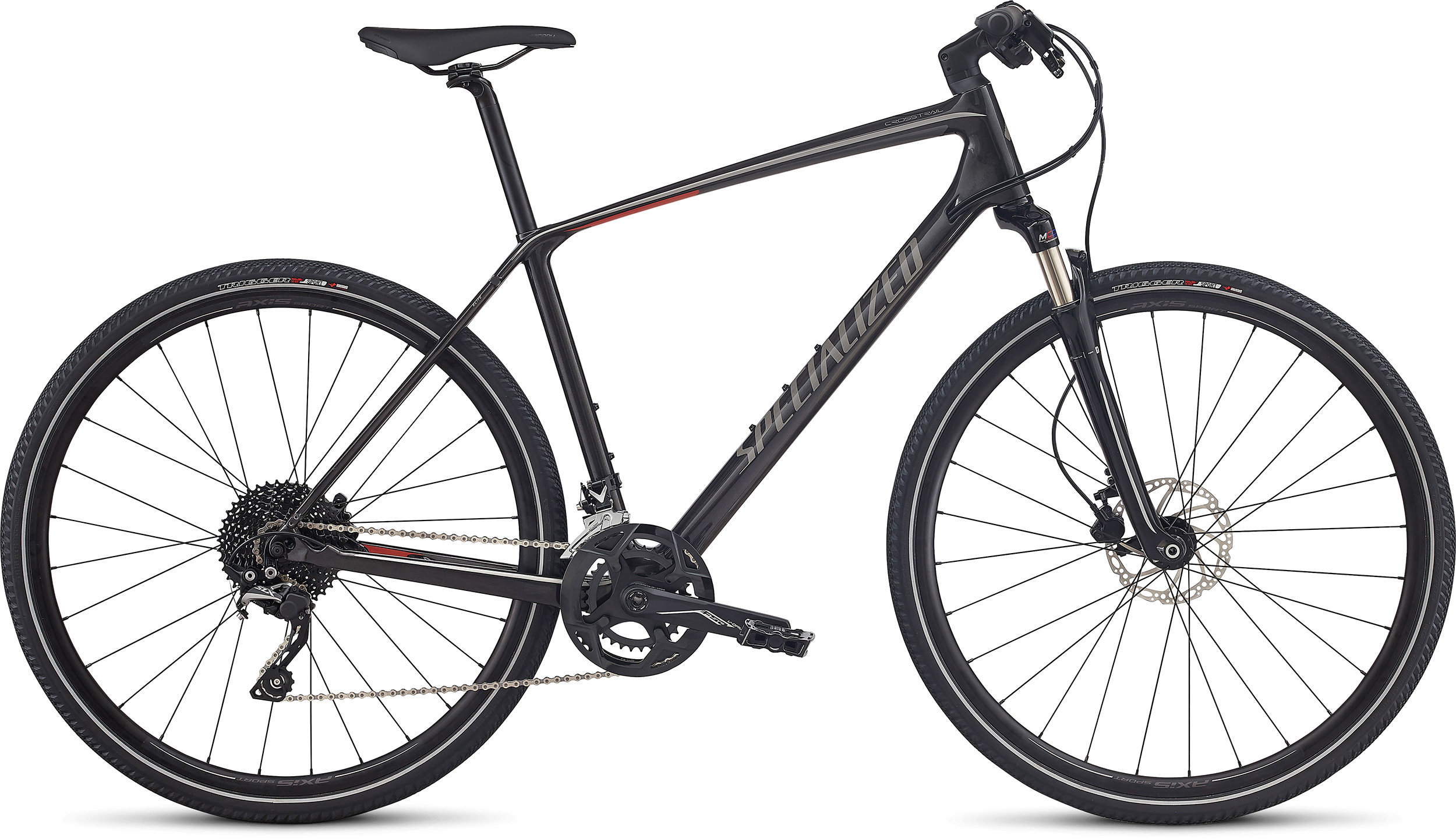 Specialized CrossTrail Elite Carbon SILVER TINT/GRAPHITE/NORDIC RED REFLECTIVE L - Alpha Bikes