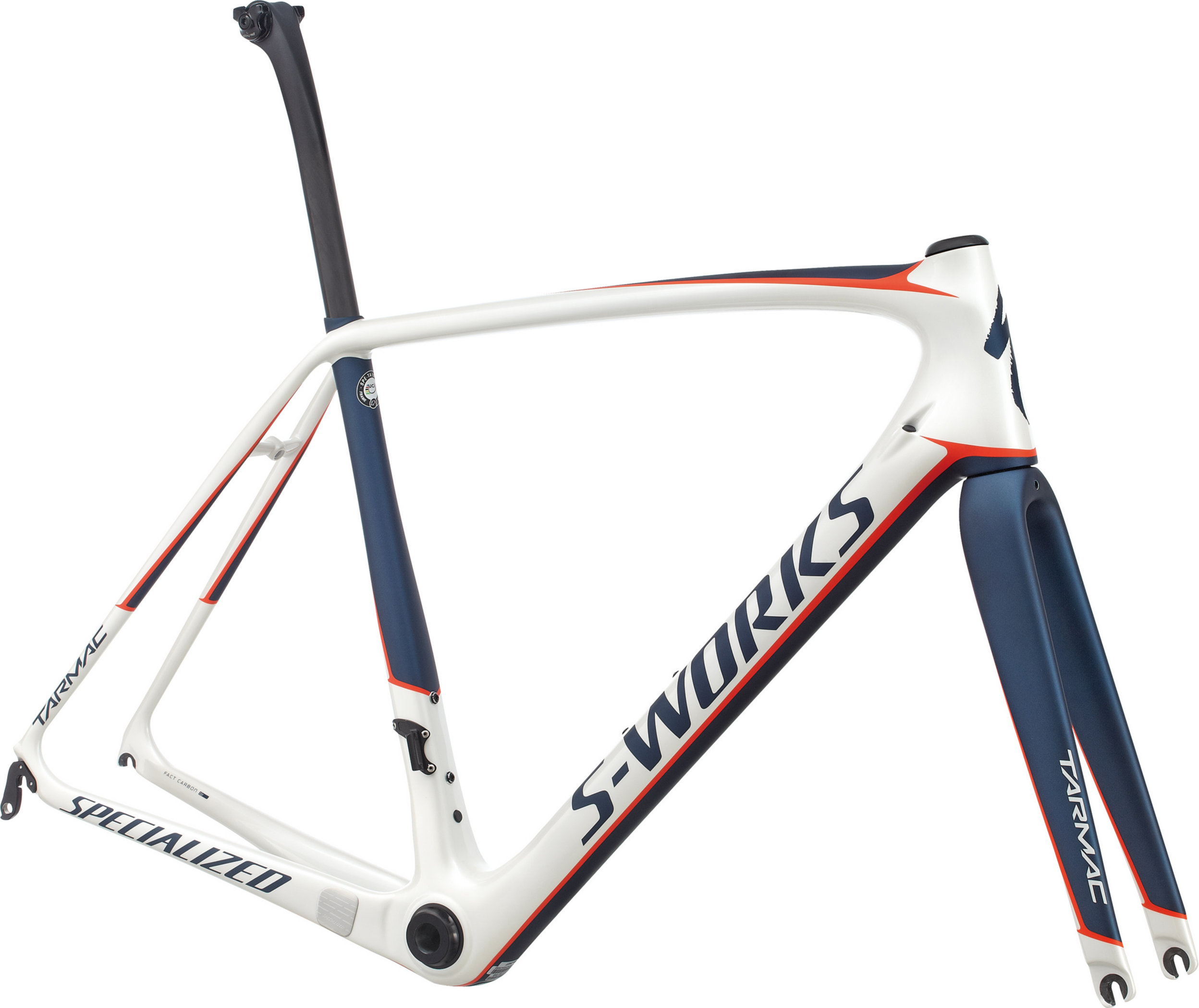 SPECIALIZED SW TARMAC FRMSET METWHT/NVY/RKTRED 56 - Alpha Bikes