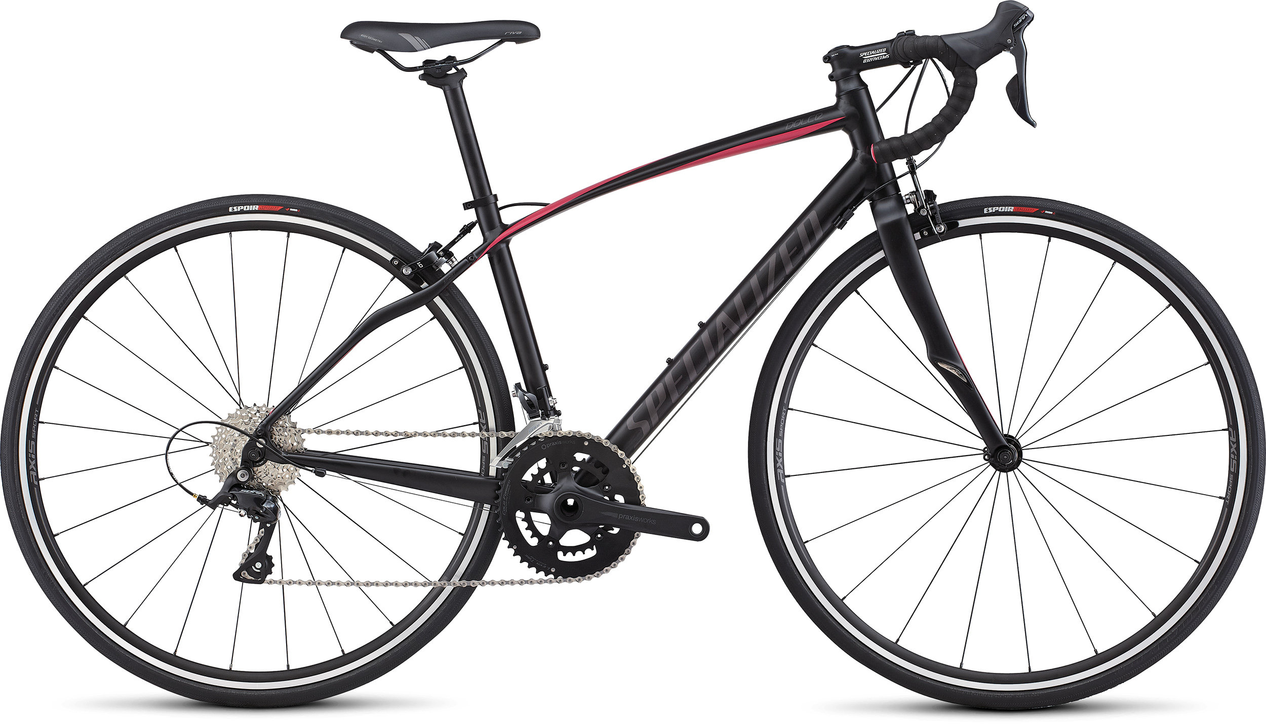 SPECIALIZED DOLCE SPORT TARBLK/RFPNK/WRMCHAR 44 - Bike Zone