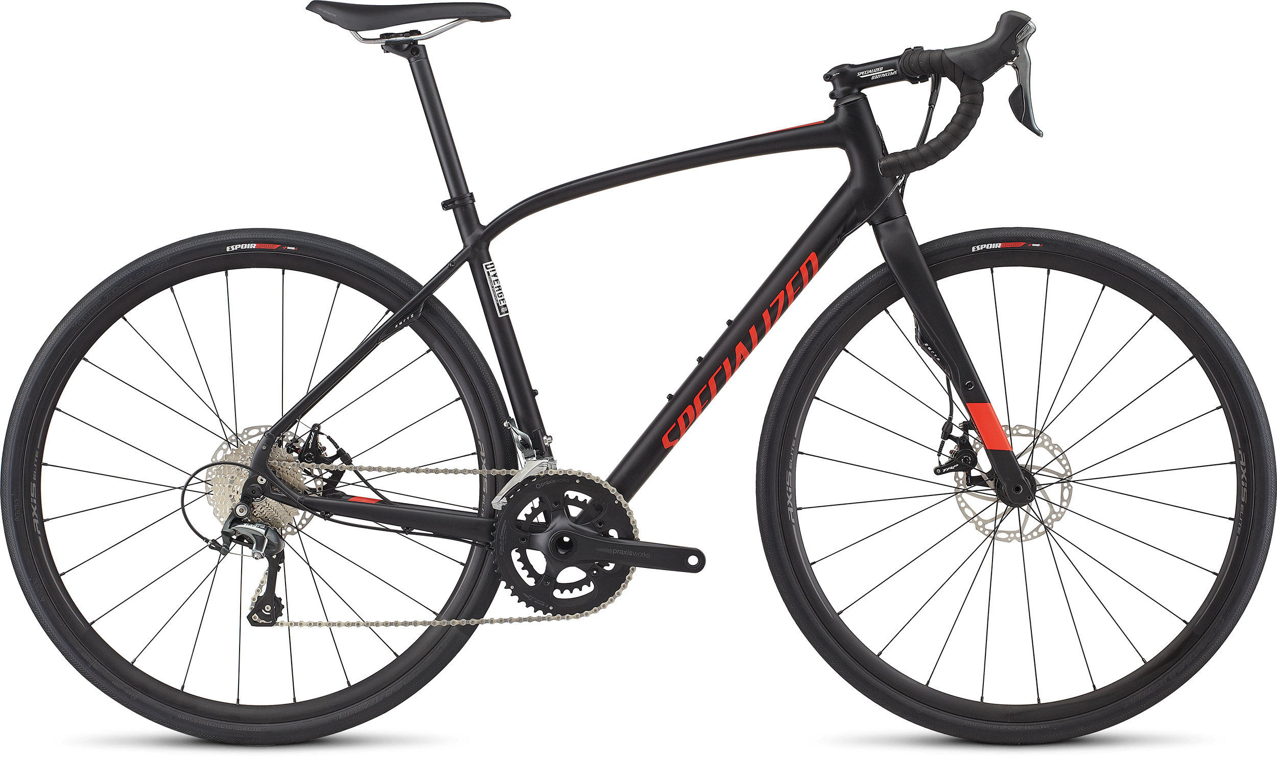 SPECIALIZED DIVERGE ELITE DSW BLK/RKTRED 49 - Bike Zone