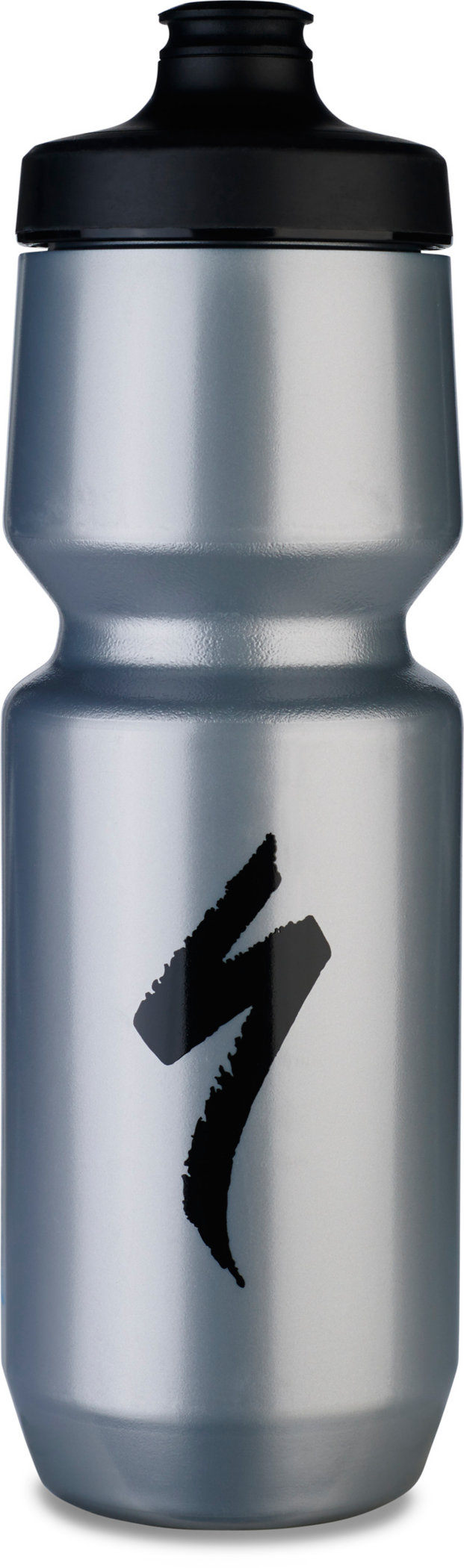 Specialized Purist WaterGate Water Bottle Silver/Black S-Logo 26 OZ - Specialized Purist WaterGate Water Bottle Silver/Black S-Logo 26 OZ