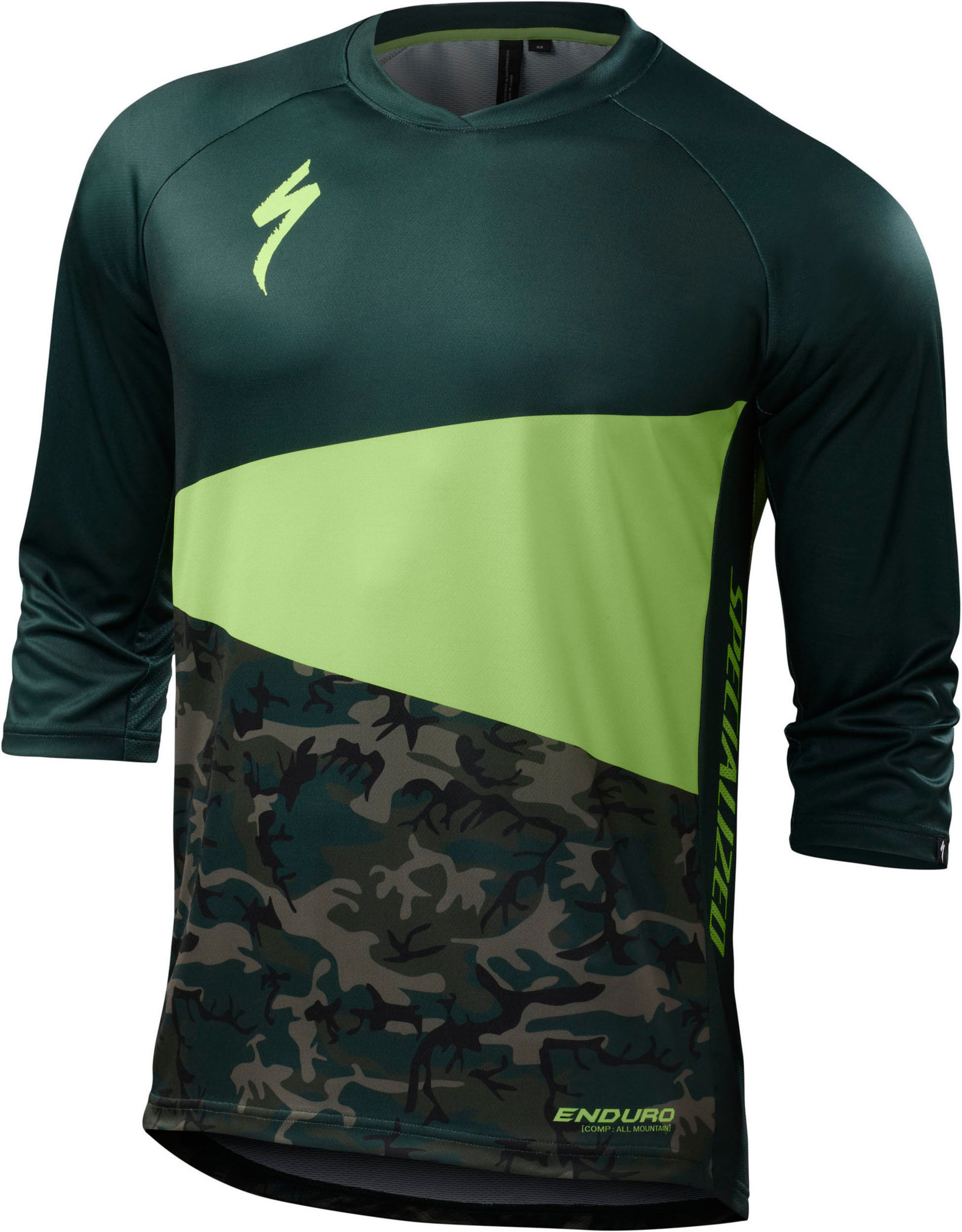 Specialized Enduro Comp 3/4 Jersey Monster Green/Camo Medium - Alpha Bikes