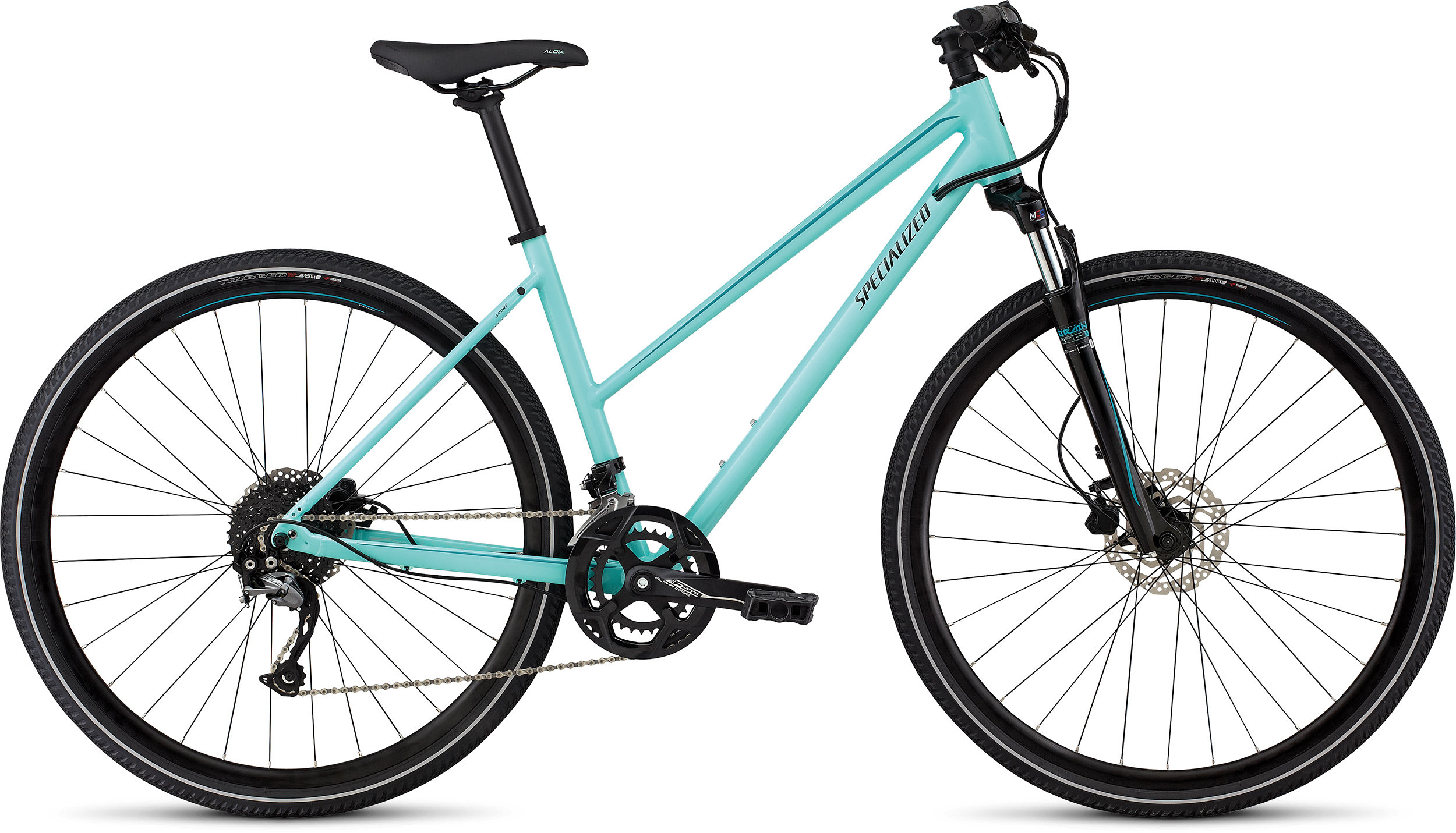 Specialized Ariel Sport Step-Through GLOSS LT TURQUOISE/TURQUOISE/TARMAC BLK L - Alpha Bikes