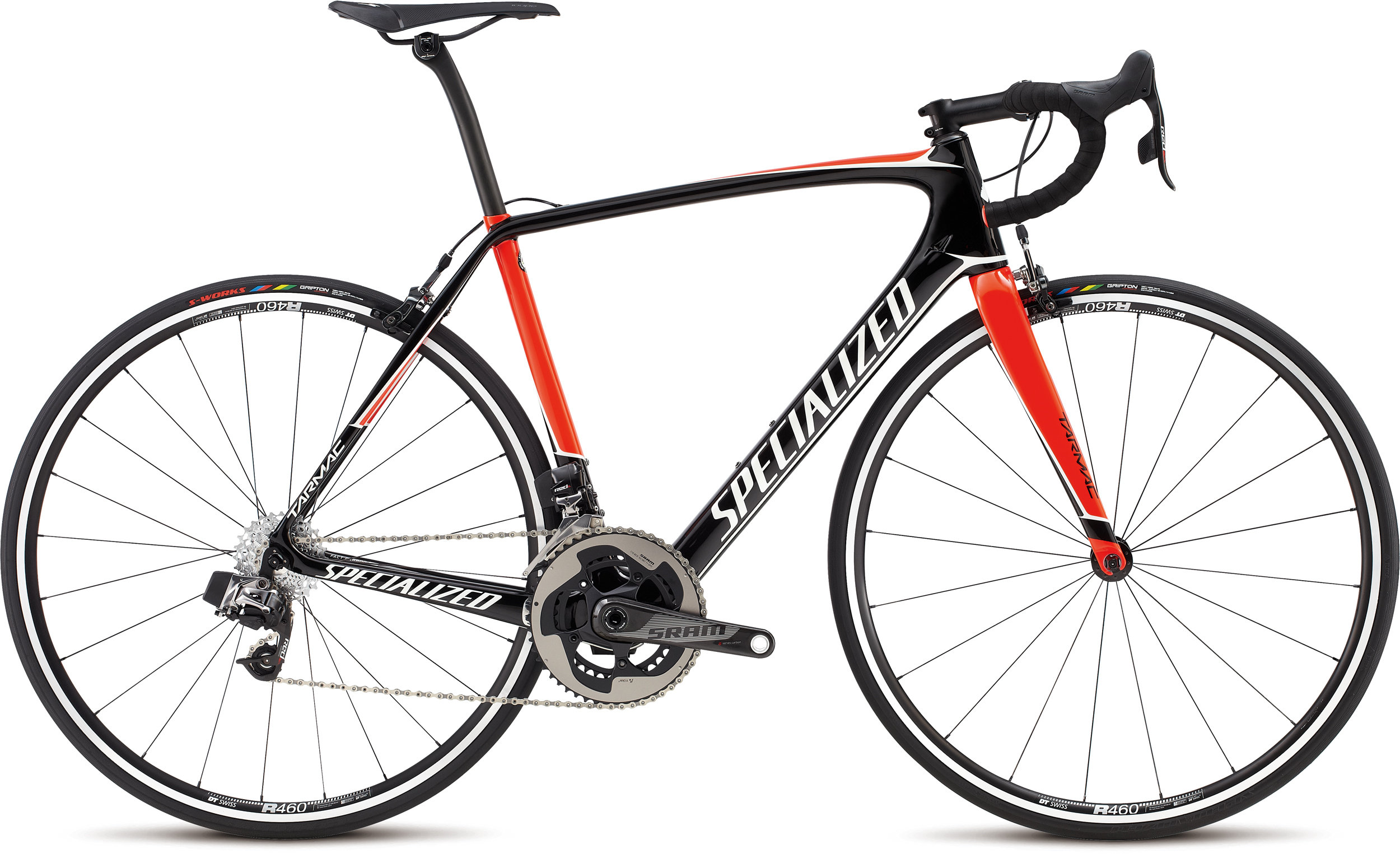 Specialized Tarmac Expert eTap Gloss Tarmac Black / Rocket Red / Metallic White 56 - Alpha Bikes
