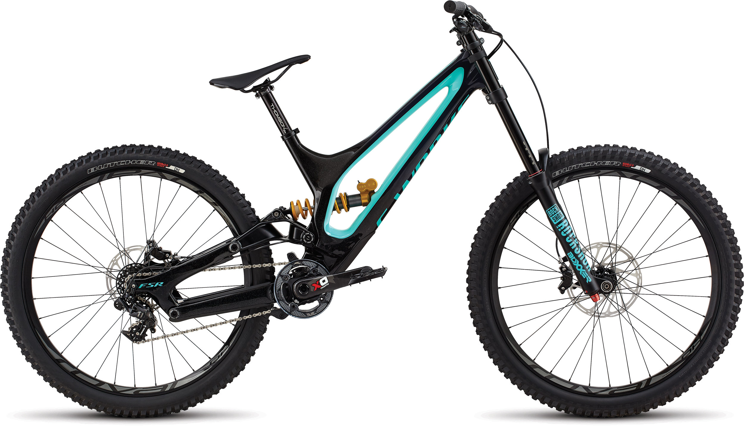 Specialized S-Works Demo 8 GLOSS BLUE TINT CARBON / ACID MINT / COSMIC BLACK LONG - Alpha Bikes