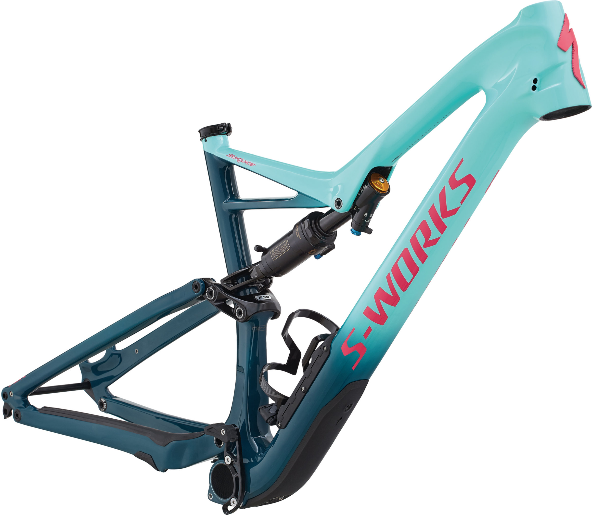 Specialized S-Works Stumpjumper Carbon 29/6Fattie Frame HERITAGE GLOSS LIGHT TURQUOISE / TROPICAL TEAL / ACID PINK CLEAN L - Bike Zone