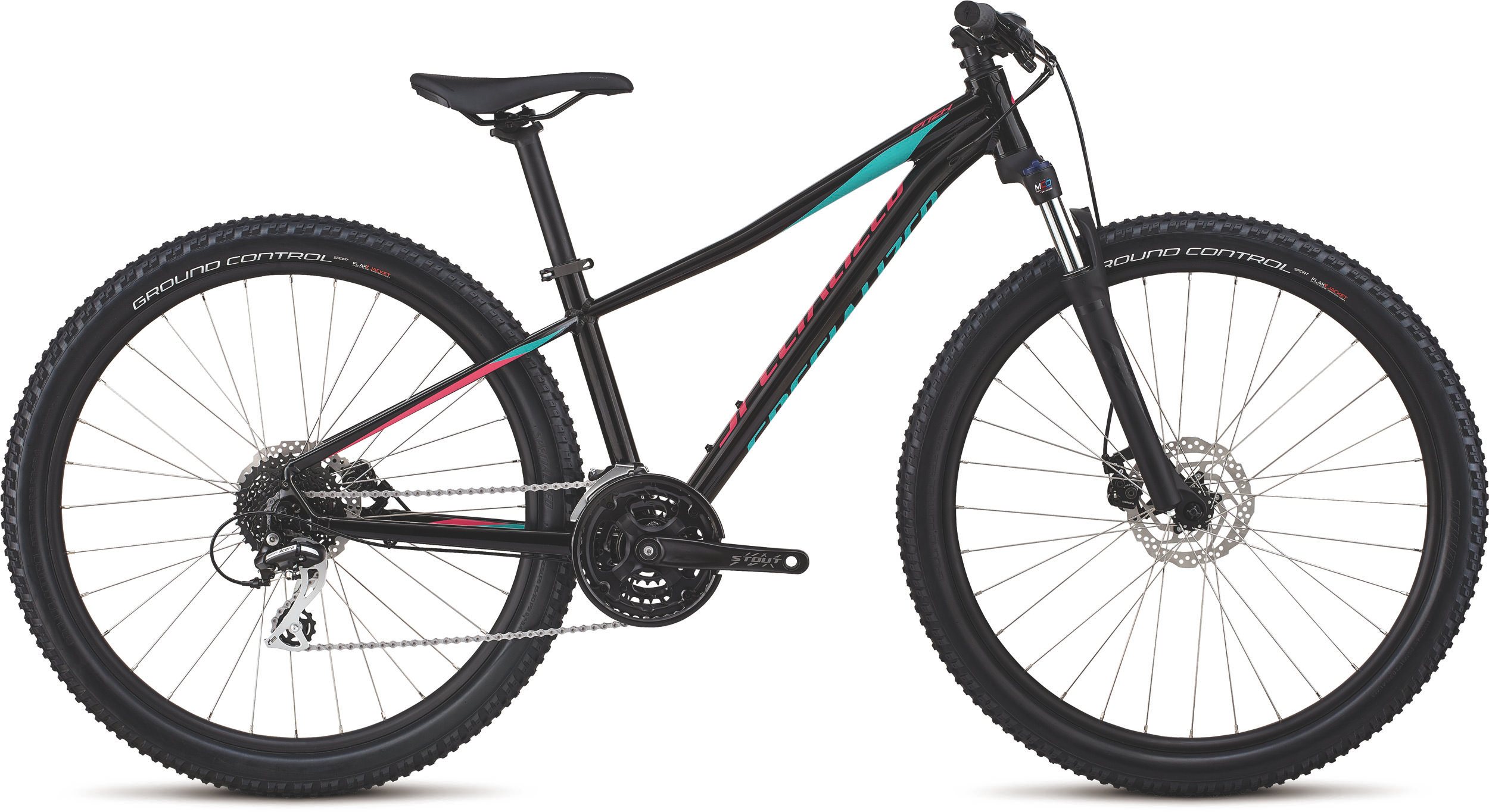 Specialized Women´s Pitch Sport 27.5 Gloss Tarmac Black/Acid Mint/Acid Pink/Reflec XS - Bike Maniac