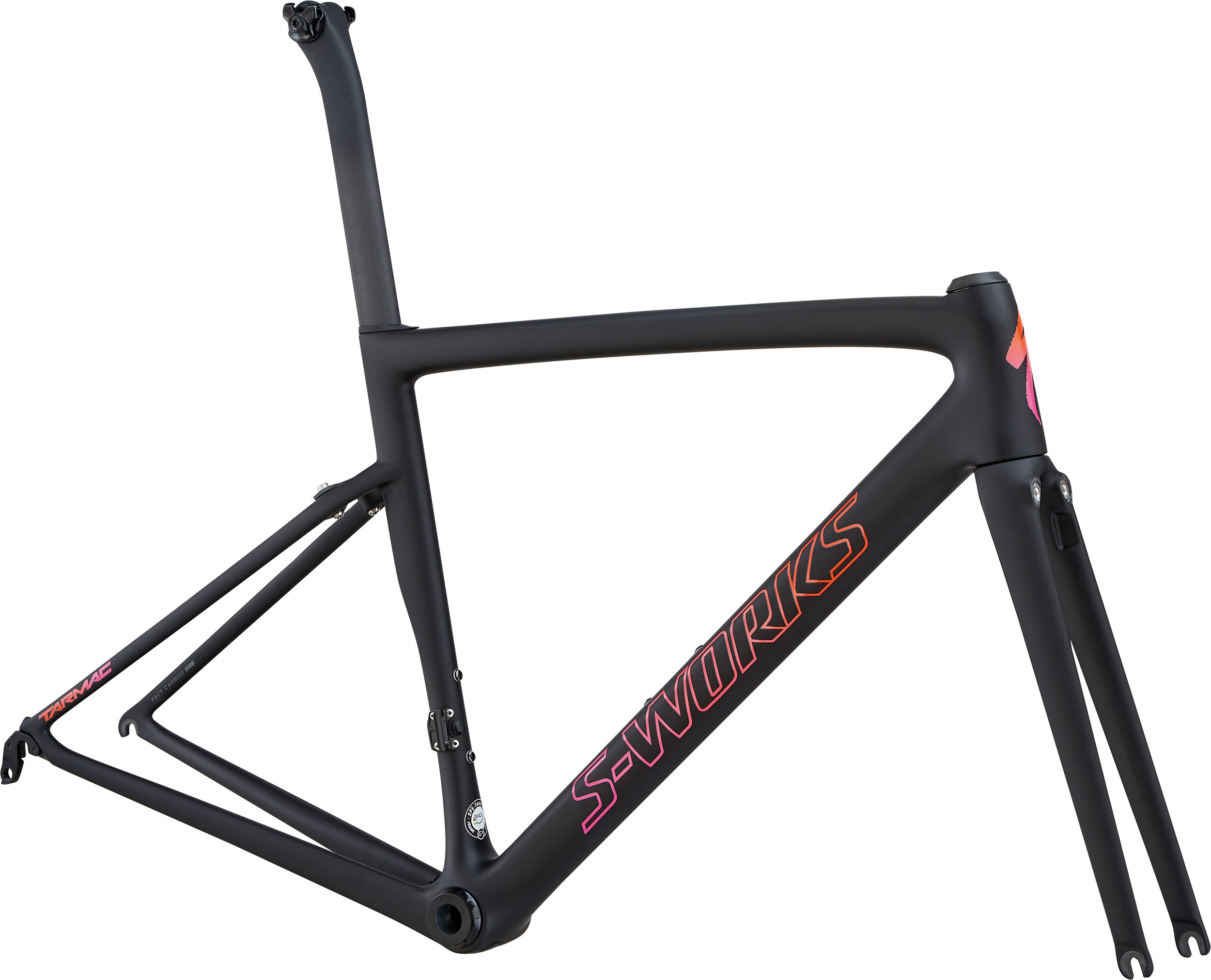 Specialized Women´s S-Works Tarmac Frameset Satin/Gloss/MonoBlk/Acid Purple Rkt Red Fade 44 - Bike Maniac