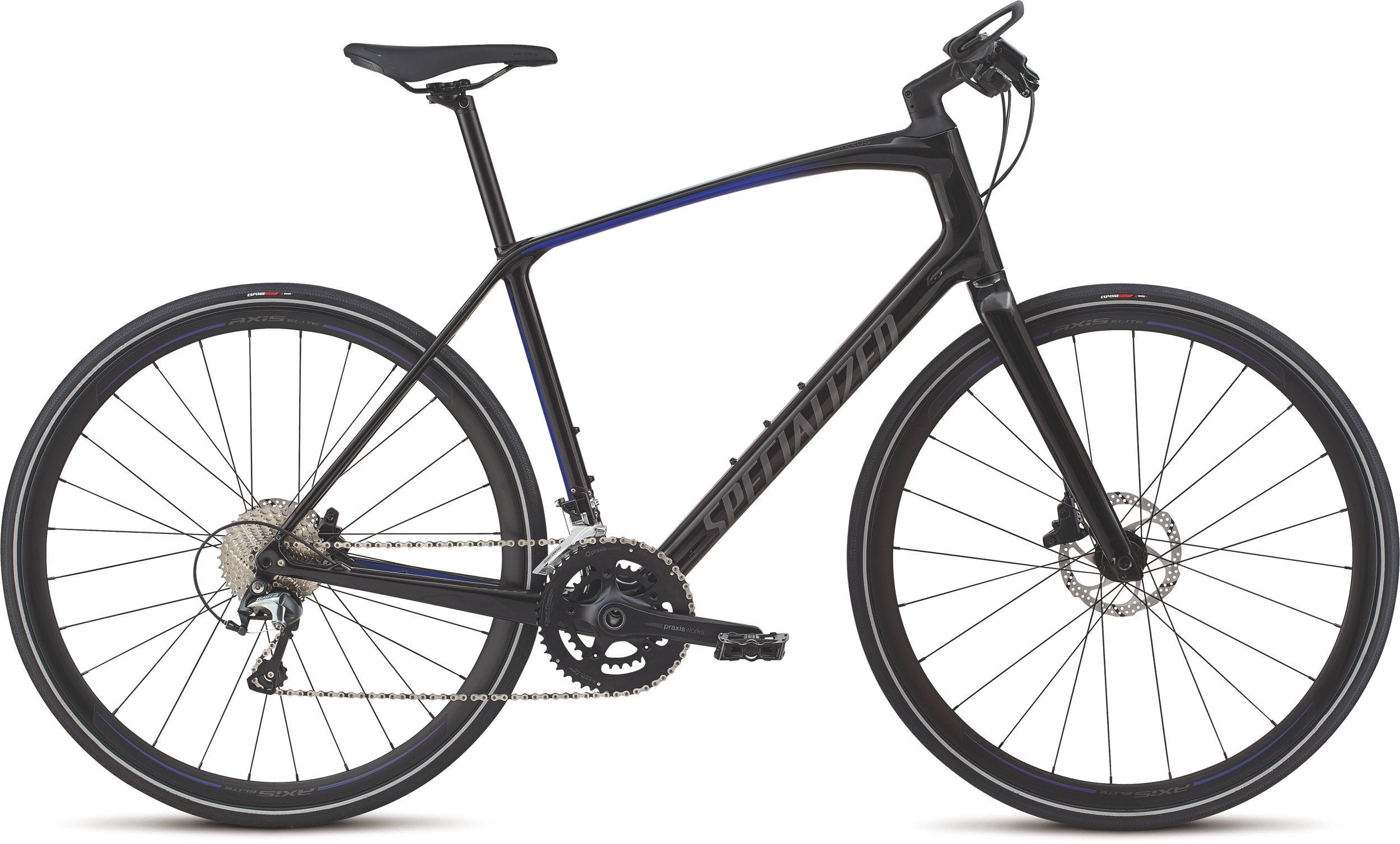 Specialized Men´s Sirrus Elite Carbon Tarmac Black/Rocket Red-Acid Blue Fade/Charcoal Reflective L - Alpha Bikes