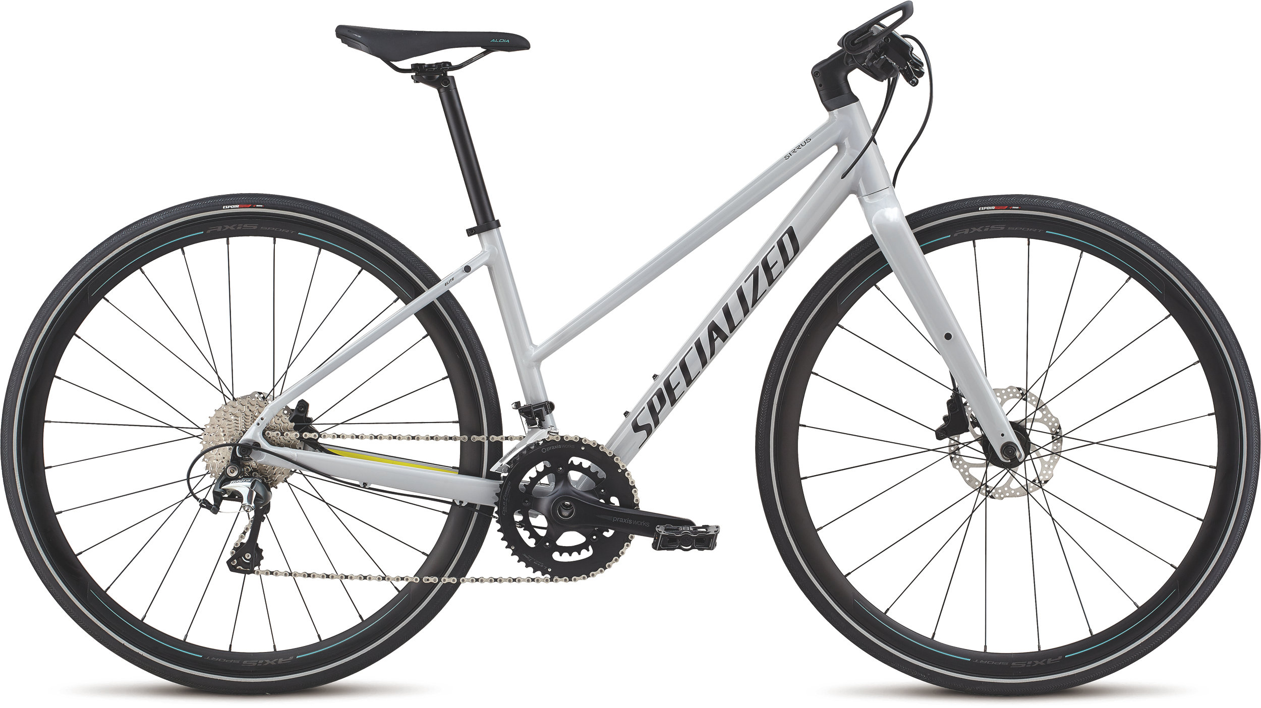 Specialized Women´s Sirrus Elite Alloy - Step-Through Filthy White/Limon/Acid Mint M - Alpha Bikes