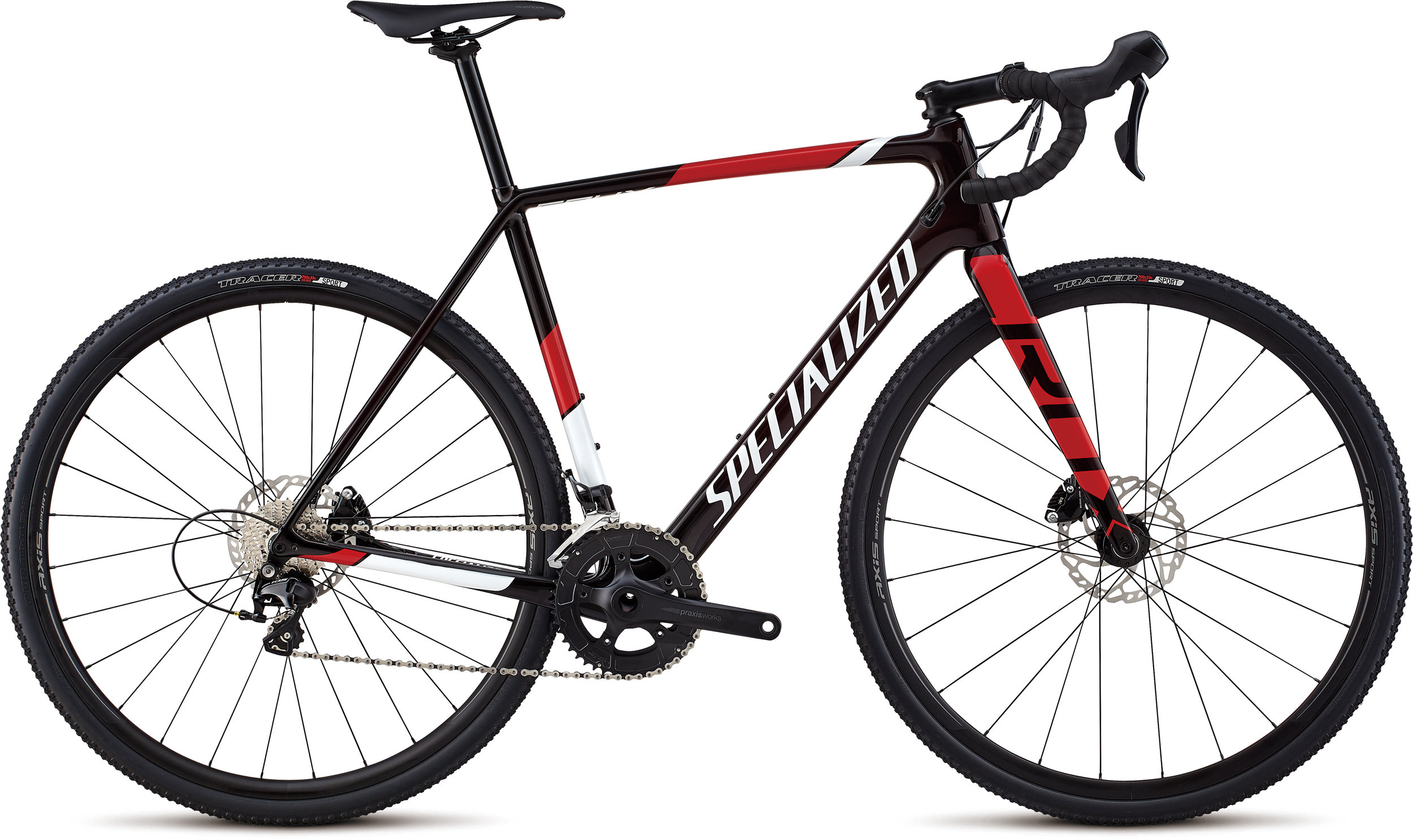 Specialized CruX Sport Gloss Red Tint/ Metallic White Silver/ Flo Red 49 - Bike Maniac