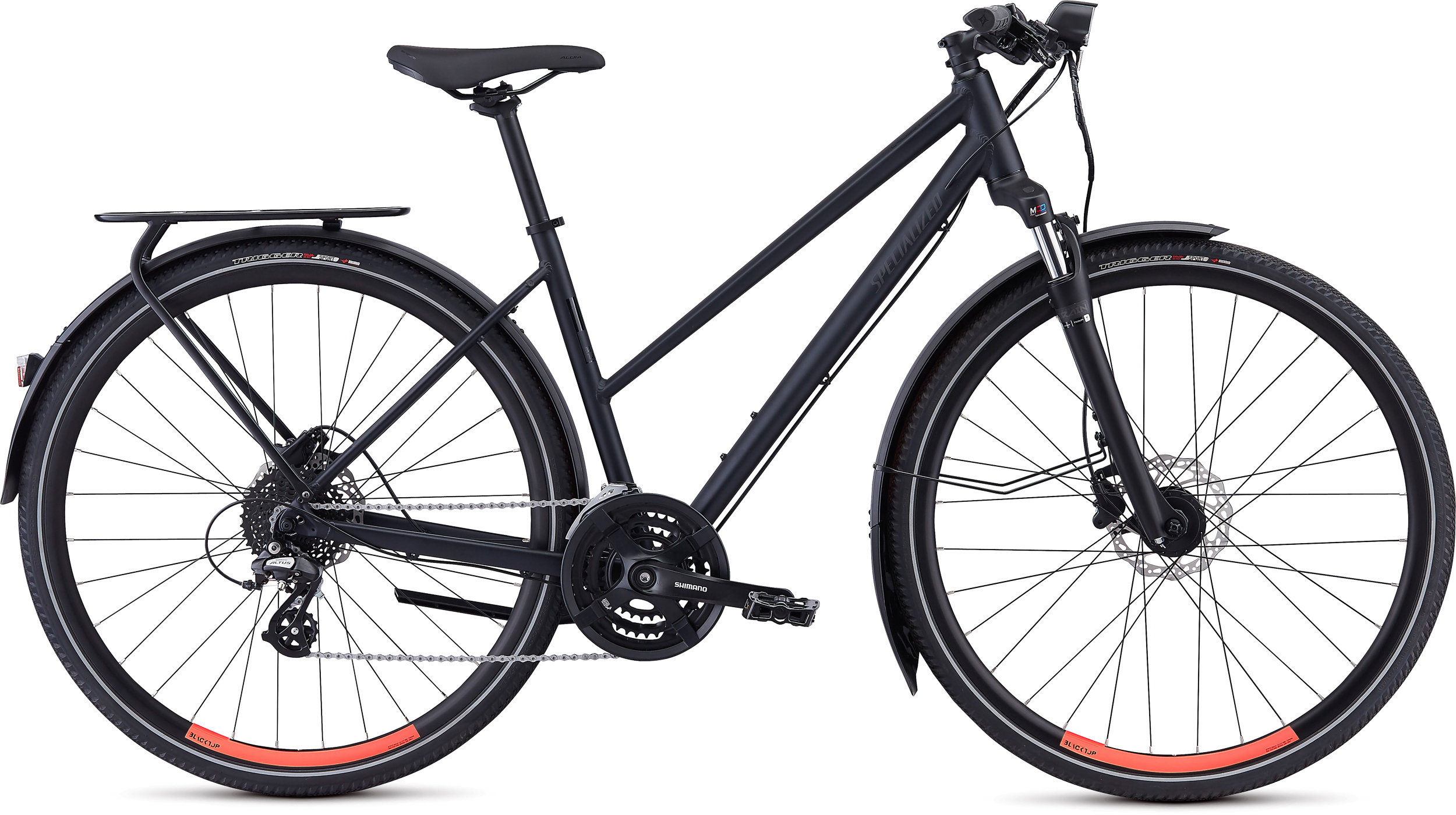 Specialized Crosstrail EQ Step-Through Satin Cast Black/Acid Lava L - Bike Maniac