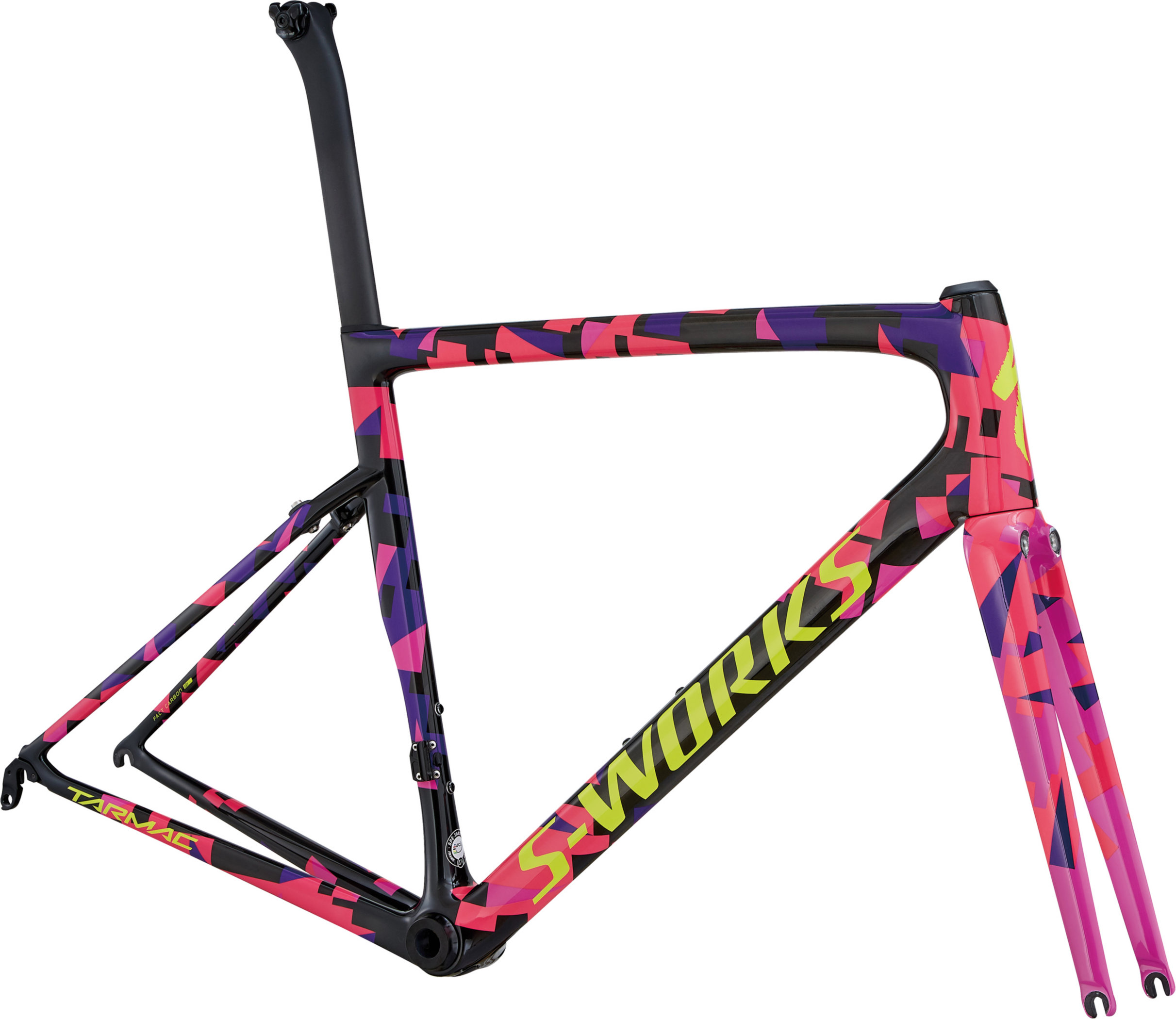 Specialized Men´s S-Works Tarmac Frameset Carbon/Purple Haze/Acid Pink/Gloss Rkt Red/Yellow 56 - Alpha Bikes
