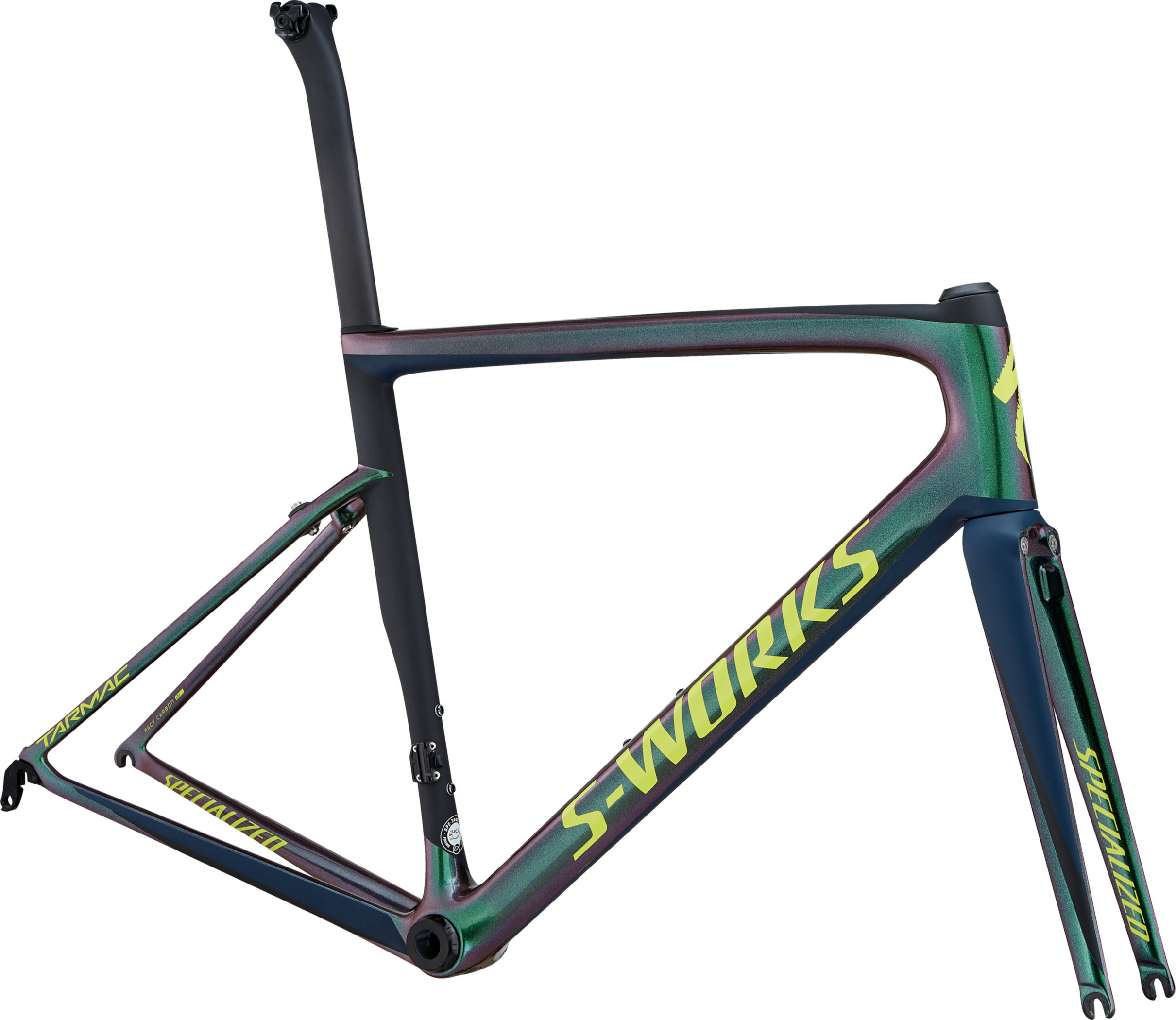 Specialized Men´s S-Works Tarmac Frameset Chameleon Green/Satin Cast Blue/Black/Team Yellow 56 - Alpha Bikes